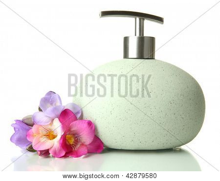 Bottle with liquid soap isolated on white