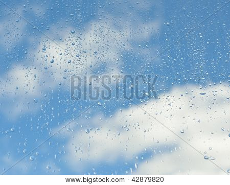 Window in the rain drops