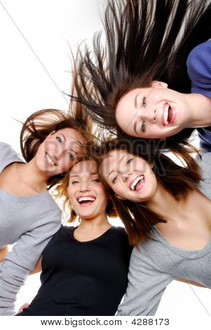 Group Portrait  Of  Fun, Happy Women