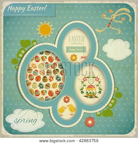 Retro Vintage Card With Easter Set