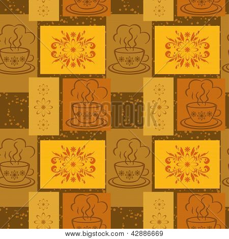 Seamless background, cups and floral pattern