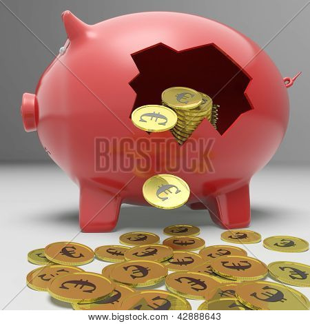 Broken Piggybank Showing European Savings