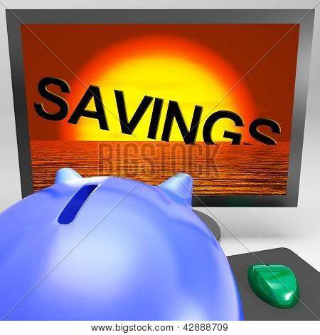 Savings Sinking On Monitor Showing Monetary Loss