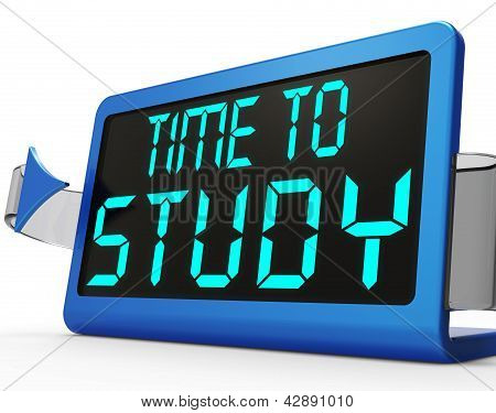 Time To Study Message Showing Education And Studying