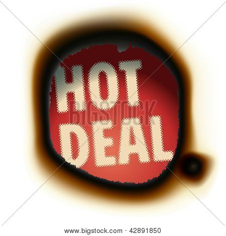 Hot Deal - burned paper background with text