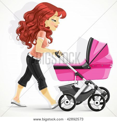 Cute mother with a pink pram on walk isolated on white background