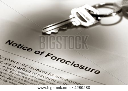 Real Estate Foreclosure Notice And House Key