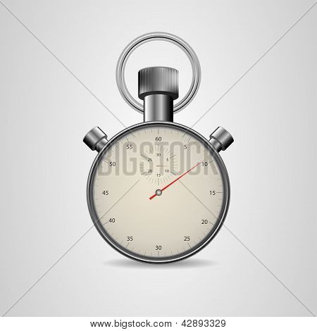 Vector Vintage Stopwatch In High Detail On White