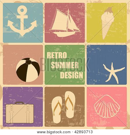 Retro Poster Summer  Made From Icons