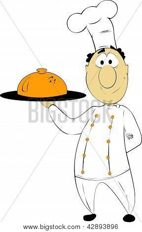 funny cartoon chef with a tray