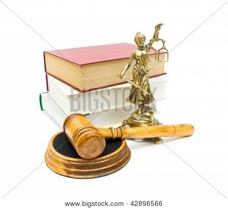 Gavel, The Statue Of Justice And Books On White Background