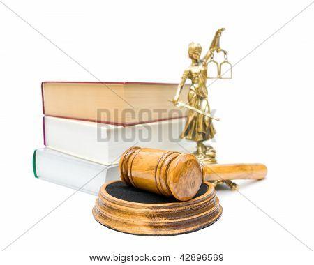 Gavel, The Statue Of Justice, And A Stack Of Books Isolated On White Background