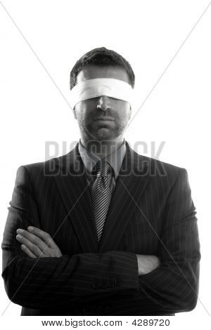 Blindfolded Businessman Over White Background