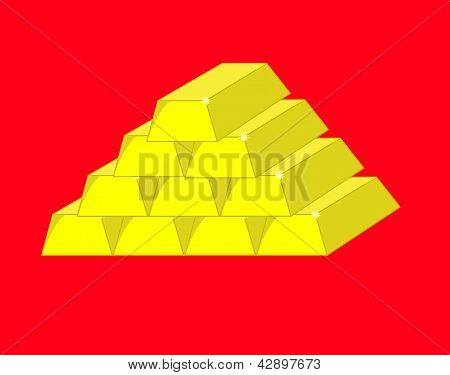 Ten Gold Bars On A Red Background.