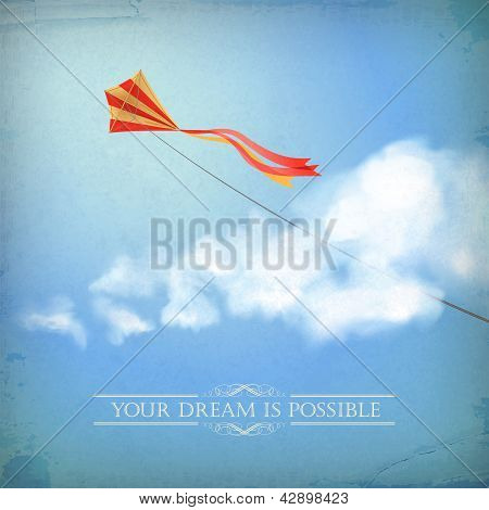 Vintage Sky Old Paper Background With Cloud, Text
