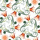 stock photo of dessin  - Floral Pattern On White Background