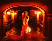 pic of dungeon  - Romantic lady in red holding a lantern in a dark dungeon - JPG