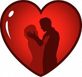 image of love couple  - Silhouette of a loving couple in a heart - JPG