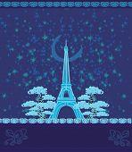 Постер, плакат: Винтажные ретро Eiffel в Париже в ночь карты векторные иллюстрации