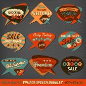 stock photo of 1950s  - Vintage Style Speech Bubbles Cards - JPG