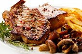 stock photo of champignons  - Fried pork chop - JPG