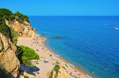 CALELLA, SPAIN - AUGUST 17: La Roca Grossa Beach on August 17, 2011 in Calella, Spain. The Catalan c