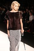 NEW YORK - FEBRUARY 10: Model walks the runway for the Rebecca Minkoff collections Mercedes-Benz Fas