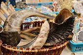 Shofar - Jewish Traditional Ram Horns On Market Stand