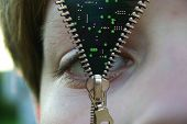 Zipper Concept. Face And Microchip