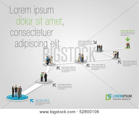 Template for advertising brochure with business people on work flow