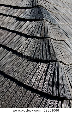 Wooden shingle roof covering the new belfry