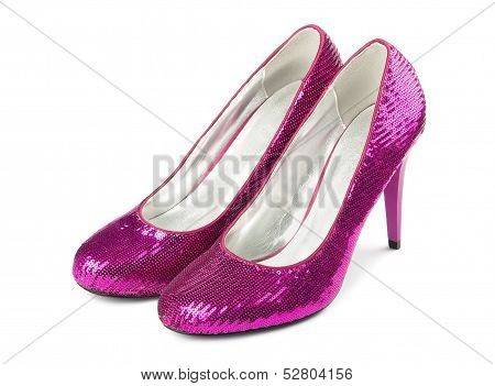Female Shoes On A High Heel, Isolated On A White Background