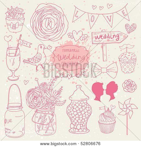 Romantic vector set in pink colors. A lot of vector elements:  tablet, jar, bouquet, bow, cupcake, ring, candy and others