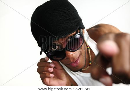 African Guy Pointing Finger