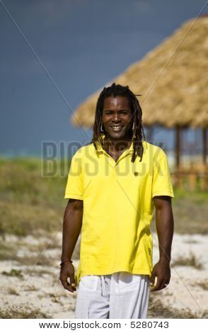 Man With Yellow T-shirt In Cuba