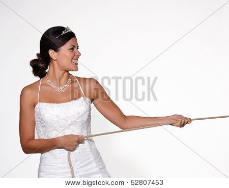 Anger bride pulling a rope,involuntary marriage