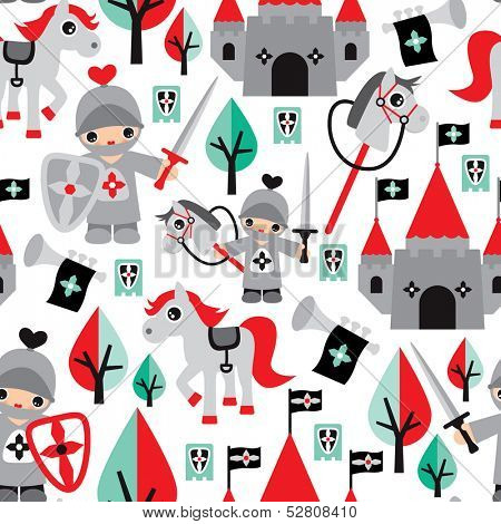 Seamless boys knight sword and horse castle fabric background pattern in vector