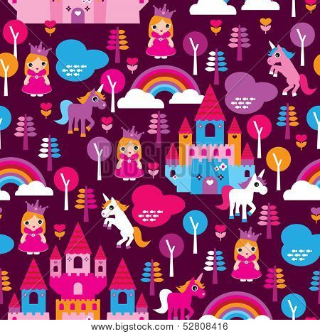 Seamless princess castle and horse rainbow retro kids background pattern in vector