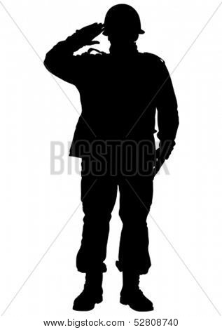Vector drawing of a soldier in uniform with weapon