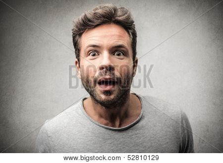 portrait of an amazed man
