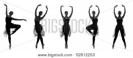 Collection of different ballet poses. Black and white silhouettes isolated on white.