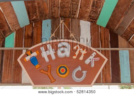 Thank You Sign Hanging On Wood Wall