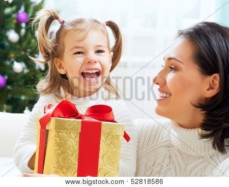 happy family with christmas gift