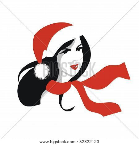 Woman with Santa Hat and Red Scarf