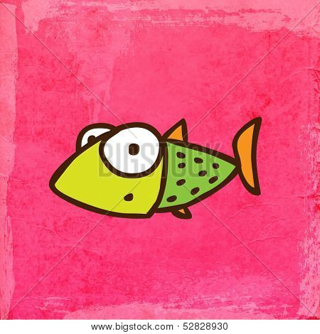 Fish. Cute Hand Drawn Vector illustration, Vintage Paper Texture Background