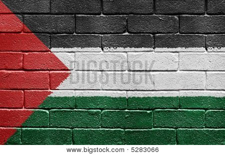 Flag Of Palestine On Brick Wall