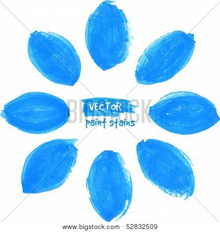 Blue vector marker stains flower