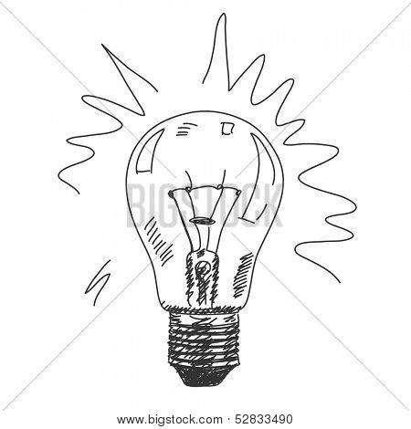 Hand drawn bulb lamp