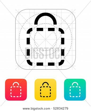 Shopping bag absent icon.