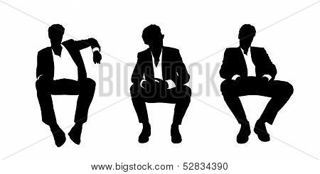Businessman Seated In The Armchair Silhouettes Set 1
